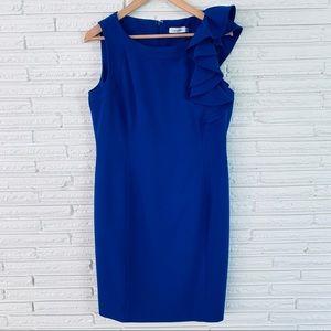 Calvin Klein Blue Ruffle Shoulder Dress